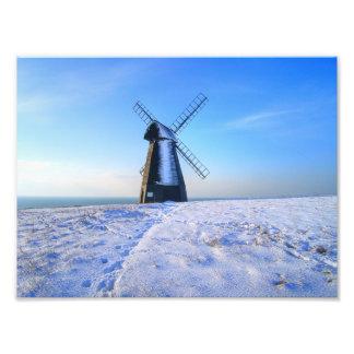 Windmill in Snow Photo Print