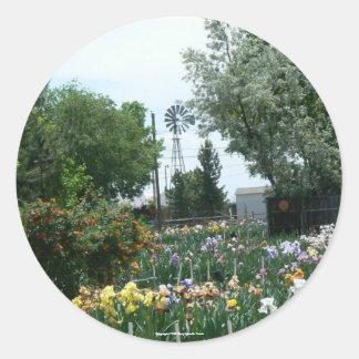 Windmill & Iris Field Round Sticker