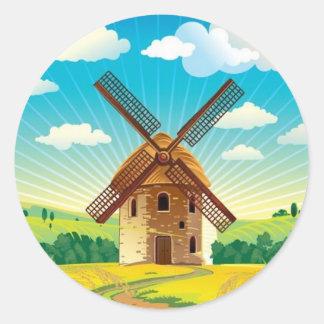 Windmill landscape round sticker