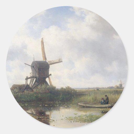 Windmill Landscape - Willem Roelofs Stickers