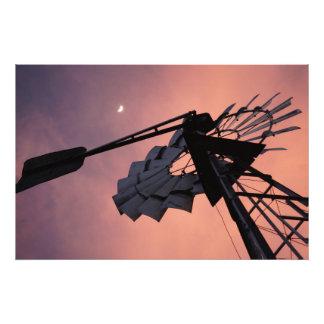 WINDMILL & MOON AGAINST PINK SKY RURAL AUSTRALIA PHOTOGRAPH