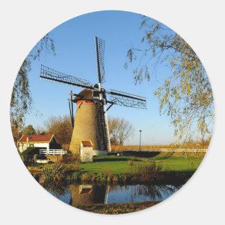 windmill Netherland Landscape Round Sticker