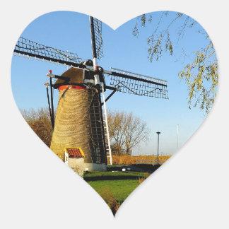 windmill Netherland Landscape Heart Stickers