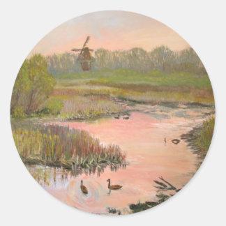 Windmill on the Waterfront Round Sticker