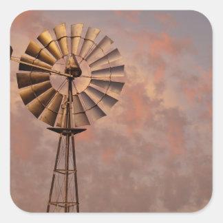 WINDMILL & PINK SKY IN RURAL QUEENSLAND AUSTRALIA SQUARE STICKER