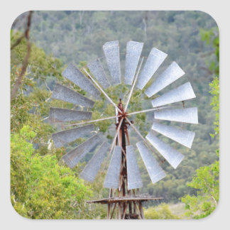 WINDMILL RURAL QUEENSLAND AUSTRALIA SQUARE STICKER