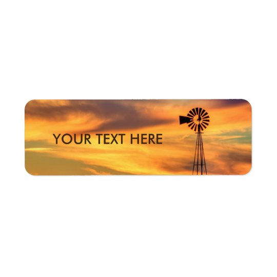 Windmill Silhouette at Sunset Labels