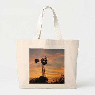 Windmill Silhouette with orange sky JUMBO TOTE BAG