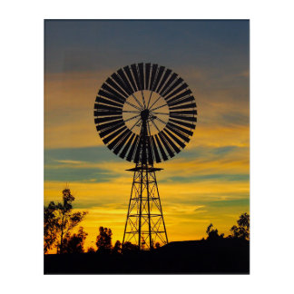 Windmill sunset acrylic wall art