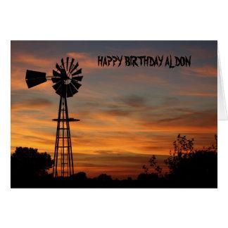 WINDMILL SUNSET Birthyday Card