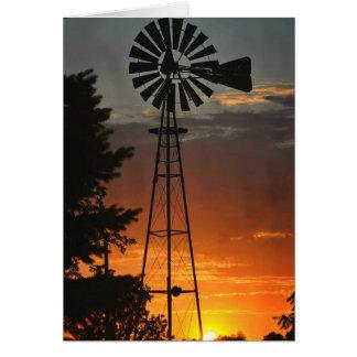 Windmill Sunset Card