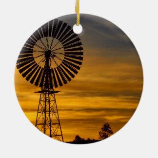 Windmill Sunset ceramic decoration