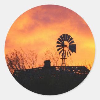 Windmill sunset round sticker