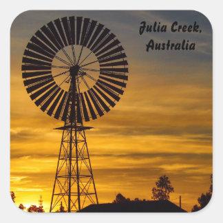 Windmill Sunset square sticker