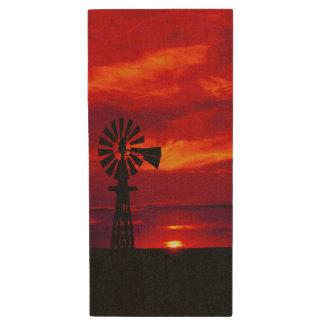 Windmill Sunset Wood USB Flash Drive