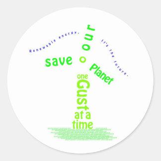 Windmill Typography Round Sticker