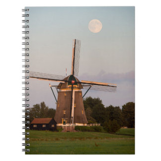 Windmill under a full moon notebook