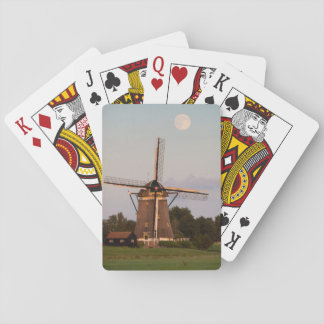 Windmill under a full moon playing cards