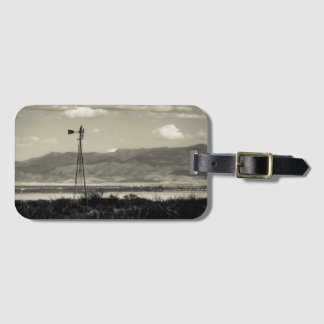 Windmill Water Pump Mountains Desert Farm Bag Tag