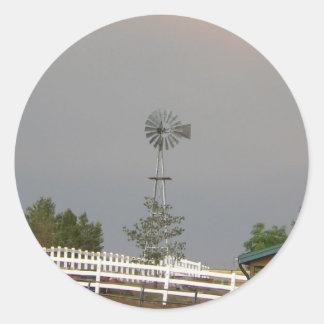 Windmill & White Round Sticker