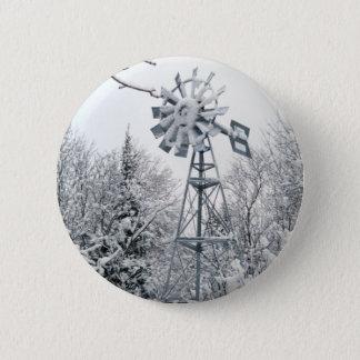 Windmill  Winter Tree Scene 2 Inch Round Button