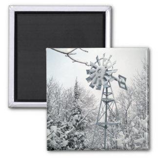 Windmill Winter Tree Scene Magnet