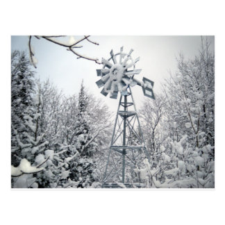 Windmill Winter Tree Scene Postcard