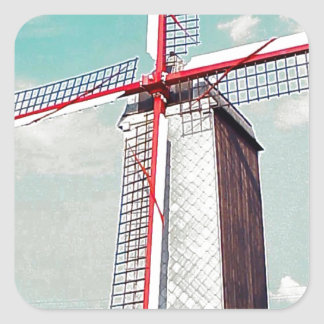Windmill with red painted sails square sticker