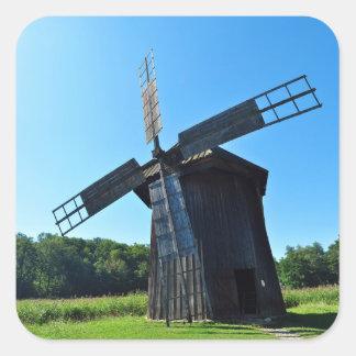 windmill wood wind mill rustic rural propeller square sticker