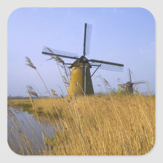 Windmills along the canal in Kinderdijk, 2 Square Sticker
