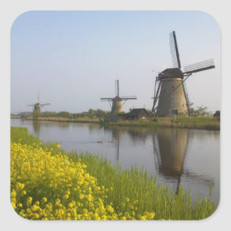 Windmills along the canal in Kinderdijk Stickers