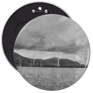 Windmills along the shore 6 inch round button