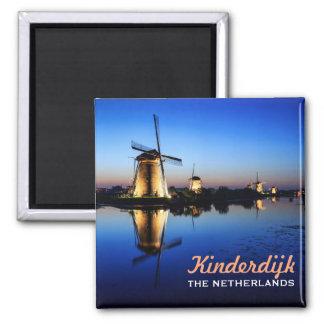 Windmills at Blue Hour in Kinderdijk text magnet