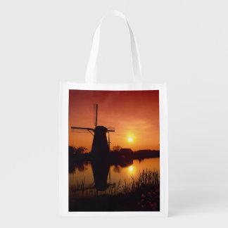 Windmills at sunset, Kinderdijk, Netherlands Reusable Grocery Bag