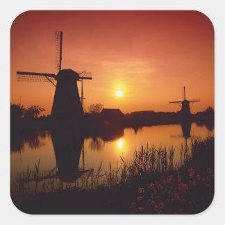 Windmills at sunset, Kinderdijk, Netherlands Square Sticker