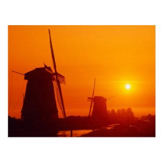 Windmills at sunset, Schermerhorn, Netherlands Postcard