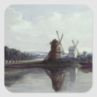 Windmills by a River, 19th century Square Stickers