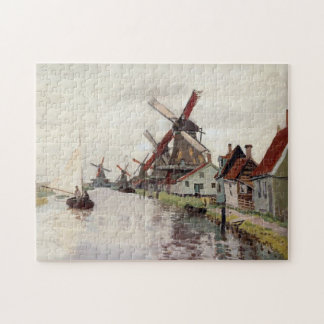 Windmills in Holland Monet Fine Art Jigsaw Puzzle