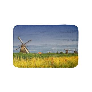 Windmills in Kinderdijk, Holland, Netherlands Bathroom Mat