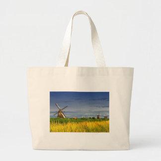 Windmills in Kinderdijk, Holland, Netherlands Large Tote Bag