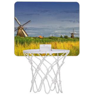 Windmills in Kinderdijk, Holland, Netherlands Mini Basketball Hoop