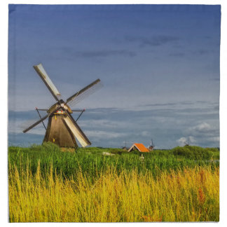 Windmills in Kinderdijk, Holland, Netherlands Napkin
