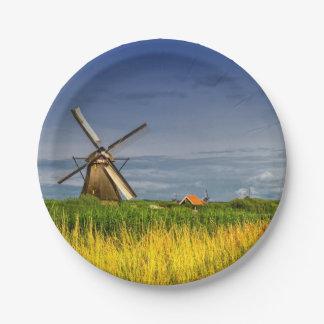 Windmills in Kinderdijk, Holland, Netherlands Paper Plate