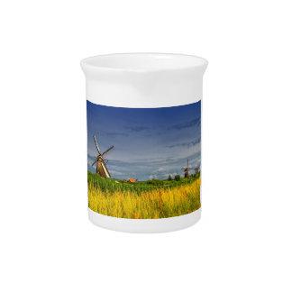 Windmills in Kinderdijk, Holland, Netherlands Pitcher
