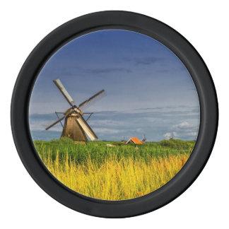 Windmills in Kinderdijk, Holland, Netherlands Poker Chips