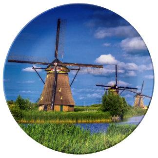 Windmills in Kinderdijk, Holland, Netherlands Porcelain Plates