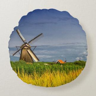 Windmills in Kinderdijk, Holland, Netherlands Round Pillow