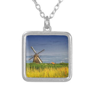 Windmills in Kinderdijk, Holland, Netherlands Silver Plated Necklace
