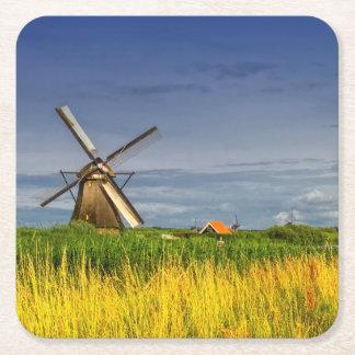 Windmills in Kinderdijk, Holland, Netherlands Square Paper Coaster