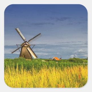 Windmills in Kinderdijk, Holland, Netherlands Square Sticker